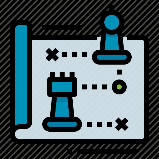 management, planning, strategic, strategy icon