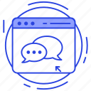 computer chat, online chatting, social media conversation, web chat, web communication icon