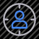 focus, goal, profile, target, user icon