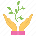 business development, business growth, business management, hand holding plant, product life cycle icon