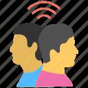 human interaction, mental harmony, personal exposure, social connection, social interaction icon