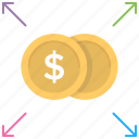 business diversification, financing balance, investment concept, money allocation, money turnover icon