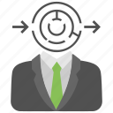 confused businessman, decision making, labyrinth game, maze labyrinth, strategy planning icon