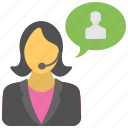 call center, customer service, female operator, hotline, technical support icon