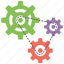 cog and gears, development, integration, production, working process icon