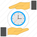 clock in hands, time management, time saving, time to save, timeline concept icon