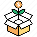 assets, capital, finance, investment concept, plant growing in box icon