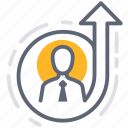 development, efficiency, level up, personal, effectiveness icon