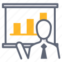 business, effectiveness, management, present, presentation, report icon