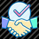 business, partners, handshake, checkmark
