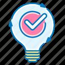 solution, light, bulb, checkmark