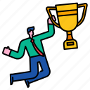 success, businessman, strategy, reward, trophy, leadership, winner