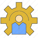 cog, gear, manage, people icon
