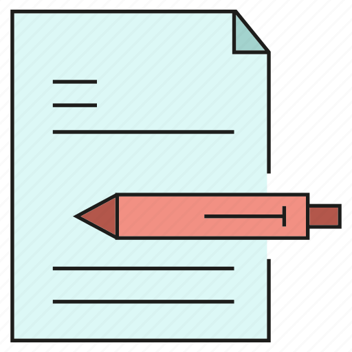 document, paper, pen, writing icon