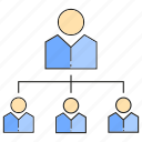 diagram, hierarchy, man, office, organization chart, people icon