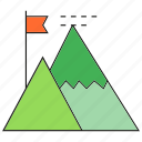 achievement, flag, mountain, success icon