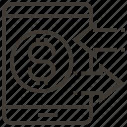 arrows, business, dollar, money, transaction icon