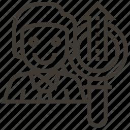 arrow, avatar, business, growth icon