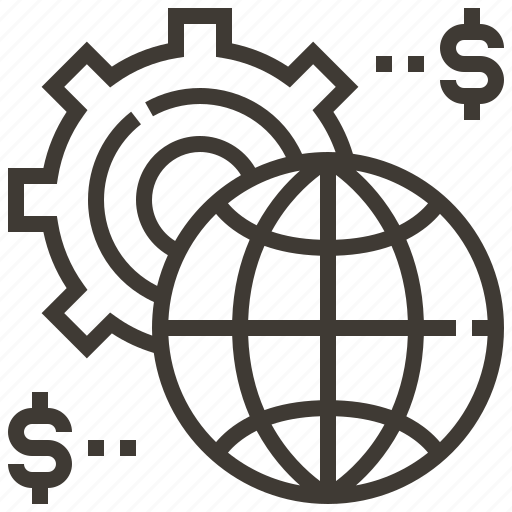 business, configuration, gear, globe, money, options, world icon