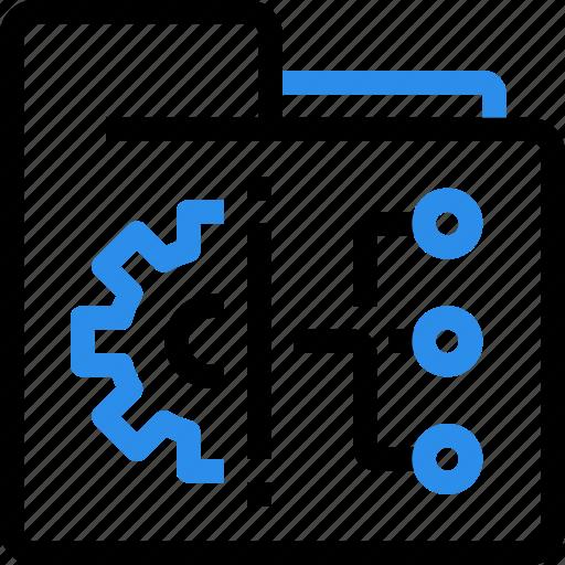 cloud, database, file, folder, gear, management, sharing icon