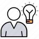 creative person, idea bulb, idea man, luminous idea, smart businessman icon