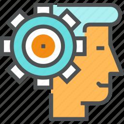 brain, cogwheel, head, mind, person, process, think, thinking icon