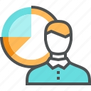 chart, company, corporate, data, diagram, man, market, report, statistics icon