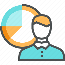 chart, company, corporate, data, diagram, man, market, report, statistics icon