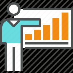 businessman, chart, corporate, graph, growth, presentation, progress, report icon