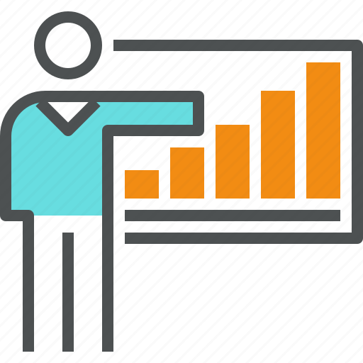 businessman, chart, corporate, graph, growth, presentation, progress, report icon