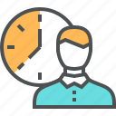 businessman, clock, control, deadline, management, time, work icon