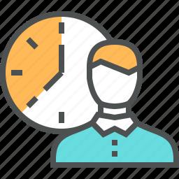 businessman, clock, control, deadline, management, time, work icon