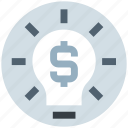 bulb, creativity, dollar, financial, idea, light, money icon