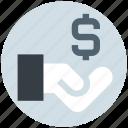 dollar, economy, finance, hand, loan, money, sign