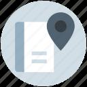book, ebook, location, magazine, map, navigation, pin icon
