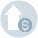 dollar, dollar coin, dollar value, income, profit, up arrow icon