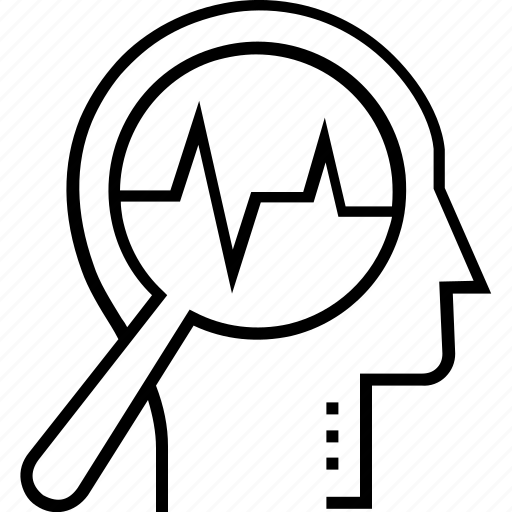 analysis, awareness, head, magnifier, self observation icon
