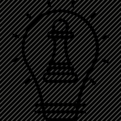 bulb, chess pawn, idea, planning, strategic thinking icon
