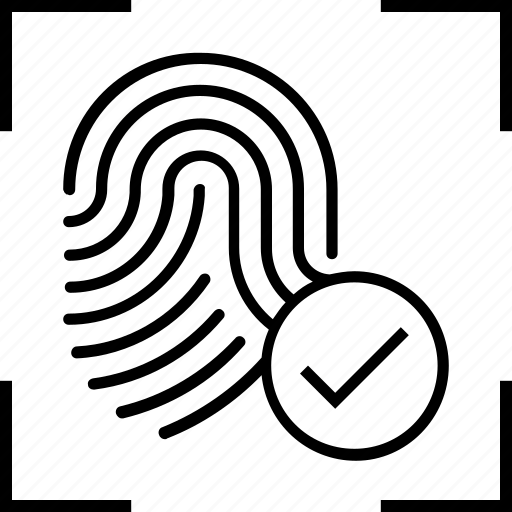 Tick, identification, biometric, identity and correct, thumbprint icon
