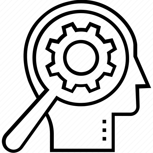 Brain, cogwheel, brainstorming, magnifying, mental process icon