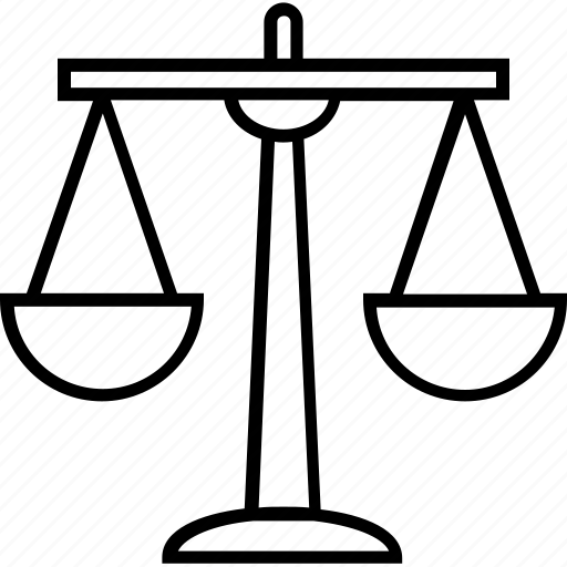 Justice scale, scaling, balance, legal, law icon