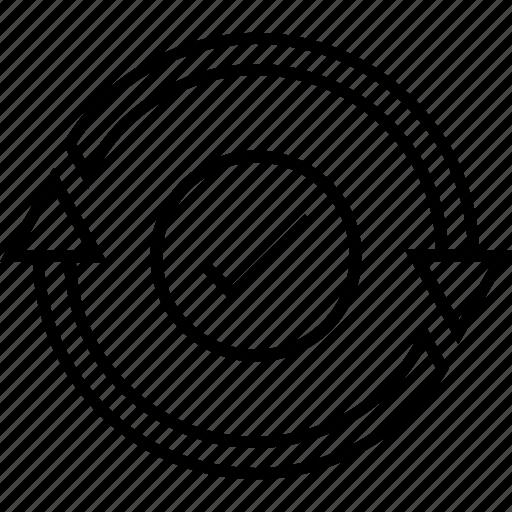 checkmark, ensure, sync, tick, update icon