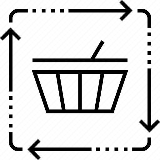 ecommerce, marketing, shopping basket, synchronization sales icon