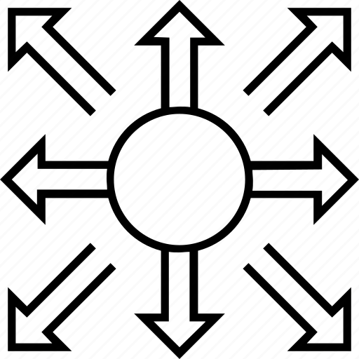 allocation, arrows, branching, distribution, hierarchy icon