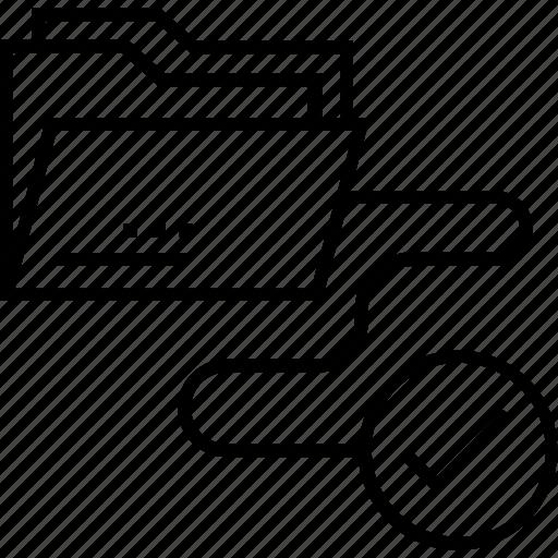 ecommerce, folder, input, procurement, tick icon