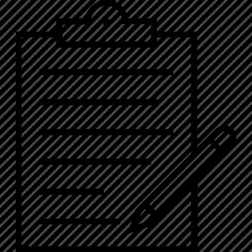 application, clipboard, form, pencil, register icon