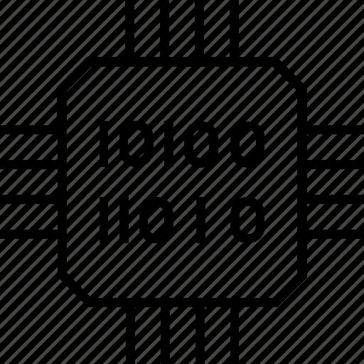 binary, computation, computer chip, integrated circuit, processor chip icon
