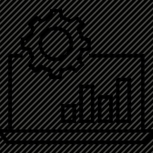 analysis, bar graph, cogwheel, management of surveys, managment icon