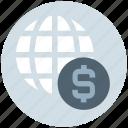 business, cash, dollar, globe, money, payment, world