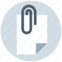 attach, attachment, clip, document, paper, paperclip icon